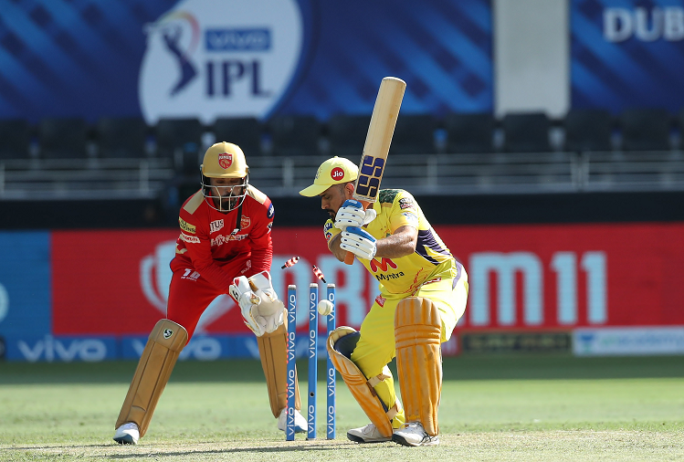 Chennai scored 108 runs for 5 wickets in 18 overs playing first against Punjab Kings, du Plessis scored a half-century