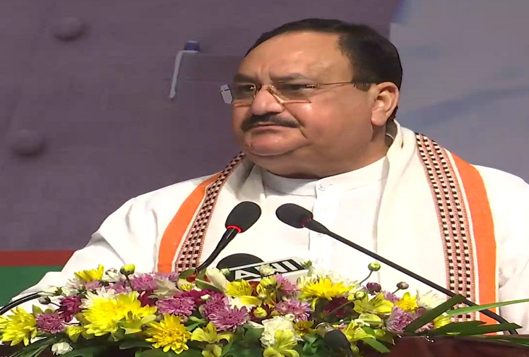 Imphal :  BJP's national president JP Nadda reached Imphal, Manipur, promised to build more than 2 lakh toilets in Manipur, government will start an initiative against drugs