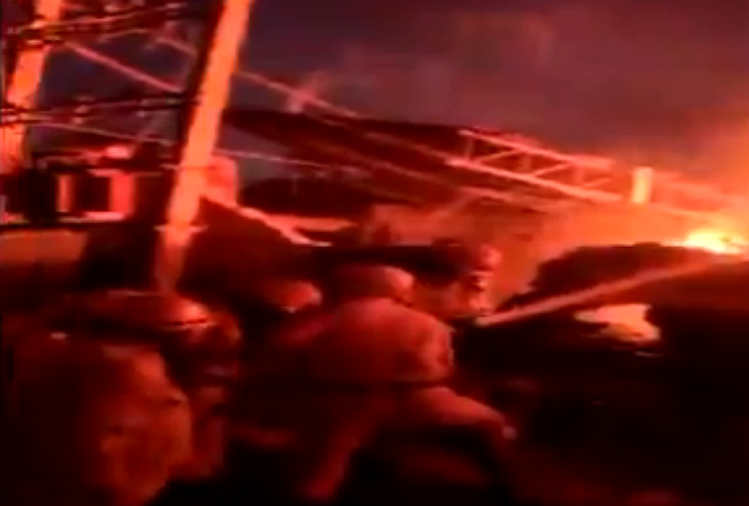 Paper roll warehouse building collapsed due to massive fire in national capital New Delhi, fire broke out at 3.30 am, no casualty reported