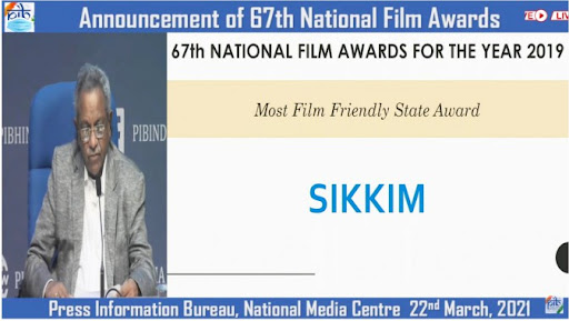 Sikkim got the award for the state providing the most facilities to the cinema industry